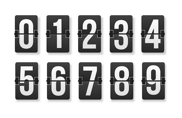 Zahlenreihe auf einer mechanischen anzeigetafel.