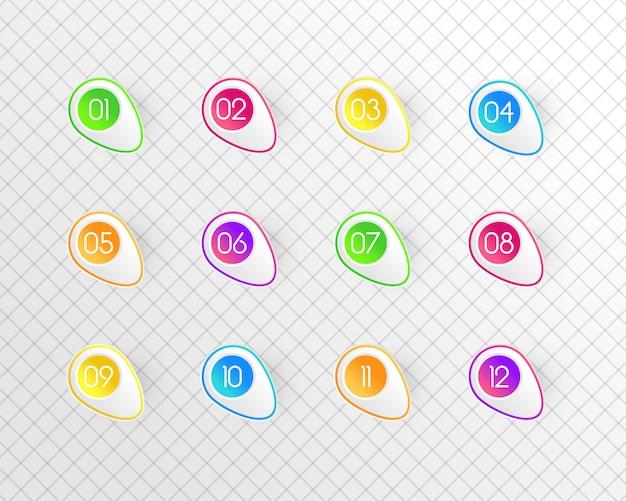 Zahlenreihe bunt. satz von farbnummern. zeichen im stil einer linie. niedliche moderne kapitalfiguren. illustration ,.