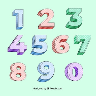 Zahlensammlung mit hand gezeichnetem stil
