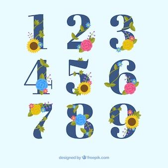 Zahlensammlung mit niedlichen blumen