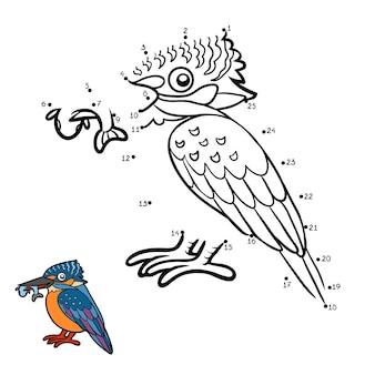 Zahlenspiel, bildung punkt-zu-punkt-spiel für kinder, eisvogel