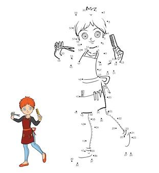 Zahlenspiel, bildung punkt zu punkt spiel für kinder, friseur