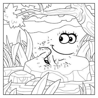 Zahlenspiel, bildung punkt-zu-punkt-spiel für kinder, frog