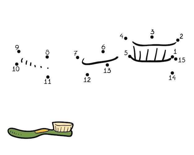 Zahlenspiel, bildung punkt-zu-punkt-spiel für kinder, zahnbürste