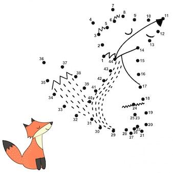 Zahlenspiel für kinder - punkt-zu-punkt-aktivität. süßer fuchs. illustration