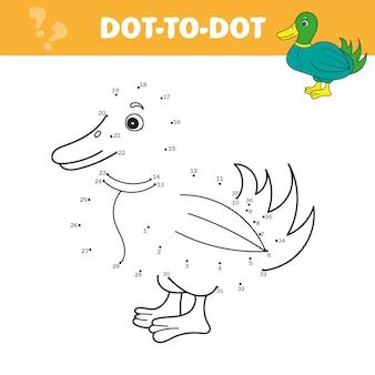 Zahlenspiel für kinder, punkt-zu-punkt-bildungsspiel. verbinde die punkte und zeichne süße cartoon-ente. lernspiel für kinder. vektor-illustration.