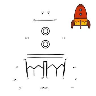 Zahlenspiel, punkt-zu-punkt-bildungsspiel für kinder, raumschiff