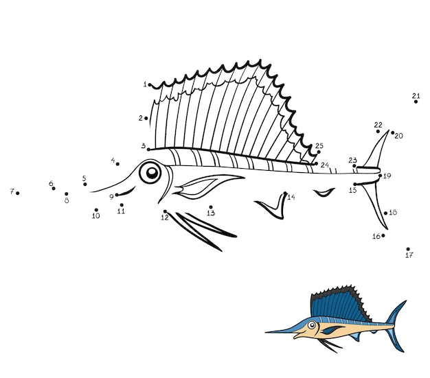 Zahlenspiel, punkt-zu-punkt-spiel für kinder, sailfish