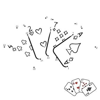 Zahlenspiel, punkt-zu-punkt-spiel für kinder, spielkarten