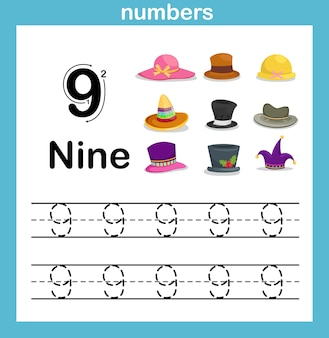 Zahlenübung mit karikaturillustration