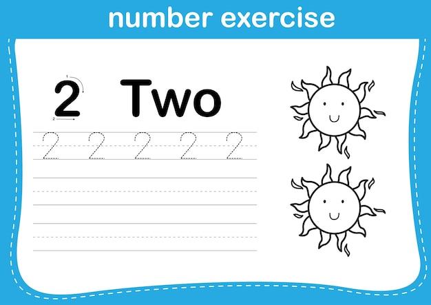 Zahlenübung mit karikaturmalbuchillustration