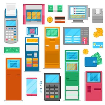 Zahlmaschine pos bank terminal für kreditkarte zu bezahlen und geldautomaten bank bearbeitung für zahlenden kartenleser in ladenillustration isoliert auf weißem hintergrund