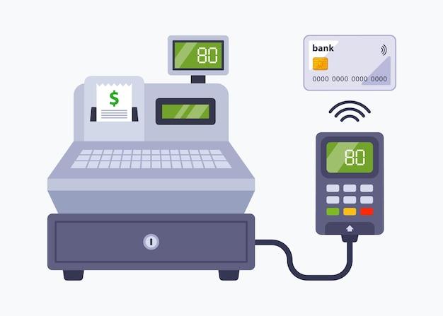 Zahlung im geschäft mit einer bankkarte. kontaktloses bezahlen über eine kasse in einem supermarkt. flache vektorillustration.