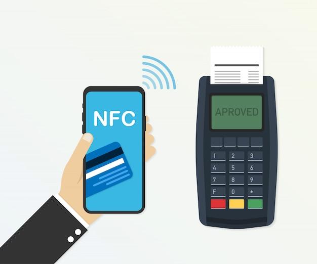 Zahlung mit kreditkarte über pos-terminal und smartphone, genehmigte zahlung. vektor-illustration