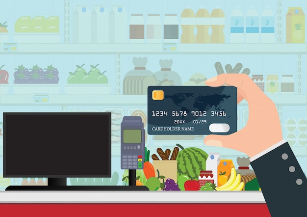 Zahlung per bankkreditkarte.