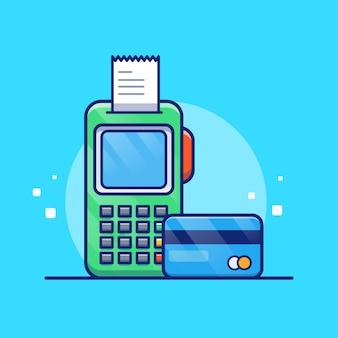 Zahlung per debitkarte abbildung. bankkarte und rechnung.