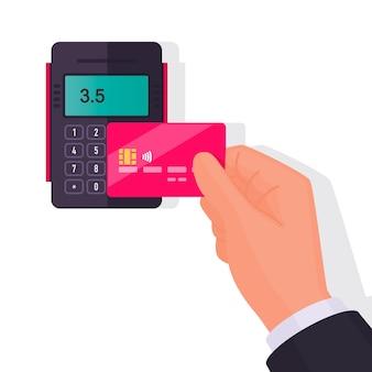 Zahlung per karte. kontaktloses bezahlen