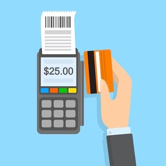 Zahlung per kreditkarte im pos-terminal. elektronisches geld. idee moderner technik.