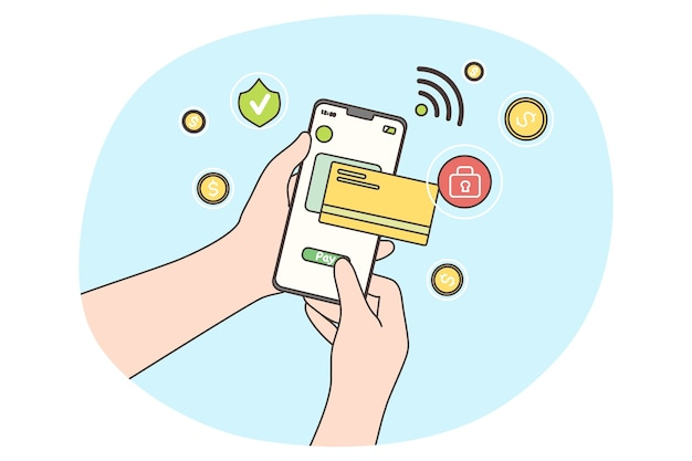 Zahlung per kreditkarte per elektronischer geldbörse drahtlos auf bankanwendung. menschliche hand, die handy hält.