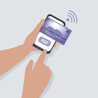 Zahlung per kreditkarte über ein smartphone mit drahtloser verbindung