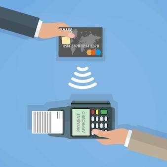 Zahlungen mit terminal und debit kreditkarte