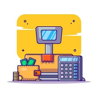 Zahlungs- und gewichtsskalenlogistik mit taschenrechner- und brieftaschen-cartoon-illustration