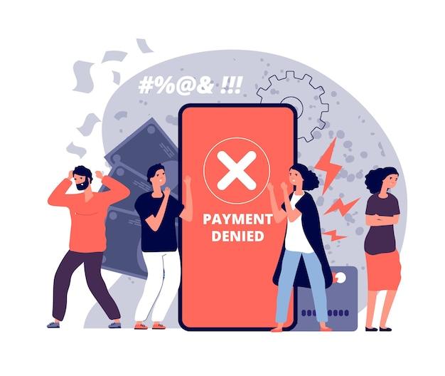 Zahlungsfehler. online-kartenzahlungen geldtransfer, scheck und ablehnung der webfinanzierung, kundenkreuz markiert fehlervektorkonzept