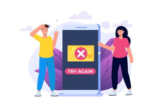 Zahlungsfehlerinfo-meldung auf dem smartphone. kundenkreuz markiert fehler. vektor-illustration.