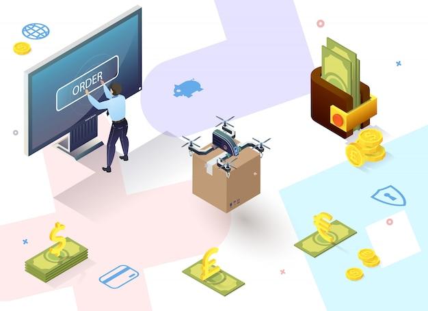 Zahlungskarten oder mobiltelefone für die elektronische registrierung von kundentransaktionen. mann steht in der nähe von computerbildschirm. vektor-illustration.