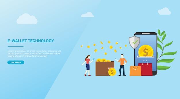 Zahlungskonzept der e-geldbörsentechnologie für websitedesignschablonen-landungshomepage