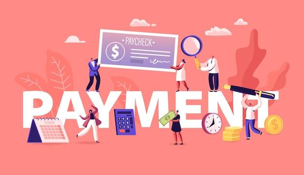 Zahlungskonzept. menschen, die geld für dienstleistungen und für bankdarlehen und kredite mit bargeld und gehaltsscheck bezahlen. karikatur flache illustration
