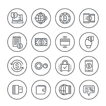 Zahlungsmethoden und internet-banking-ikonen stellten auf weiß in der linearen art ein