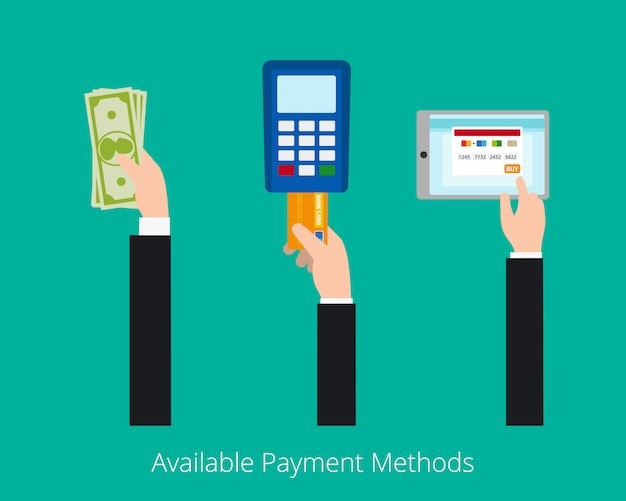 Zahlungsmöglichkeiten vektor konzept