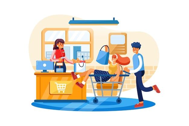 Zahlungssystem im supermarkt