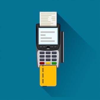 Zahlungsterminal auf blau