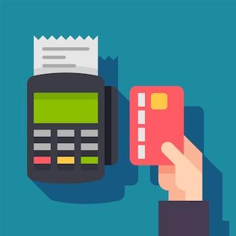 Zahlungsterminal. pos-maschinendatentelefon mit kreditkarte