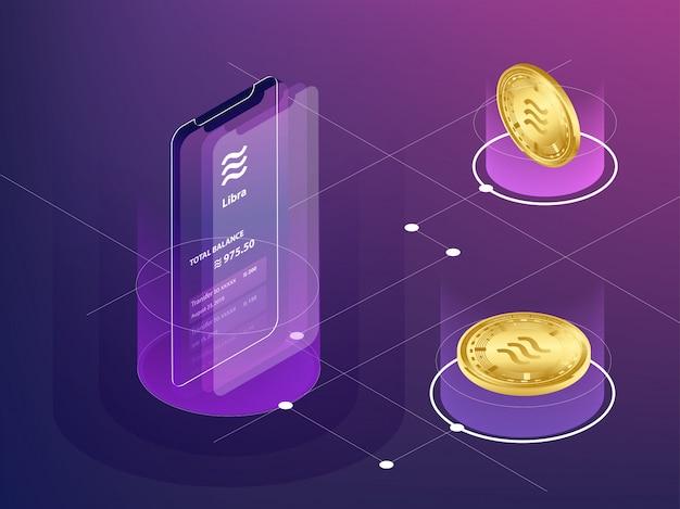 Zahlungsvorgang der digitalen währung der waage auf smartphone Premium Vektoren