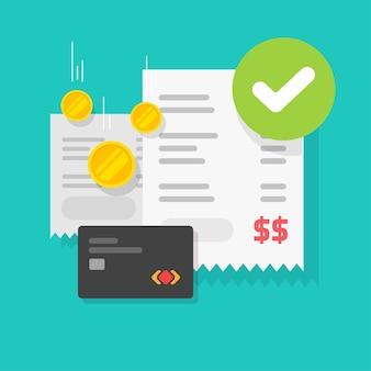 Zahlungsvorgang erfolg genehmigt häkchen hinweis auf quittung rechnung illustration
