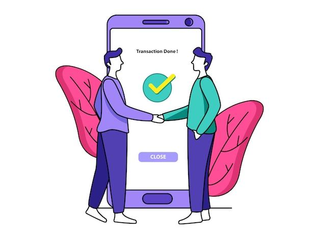 Zahlungsvorgang erfolgt über app illustration