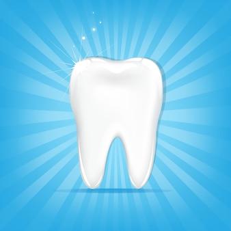 Zahn, auf blauem hintergrund mit strahlen und sternen, illustration