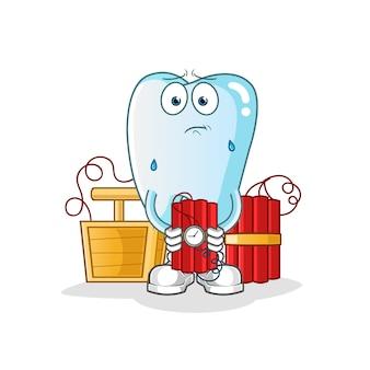 Zahn, das dynamitcharakterillustration hält