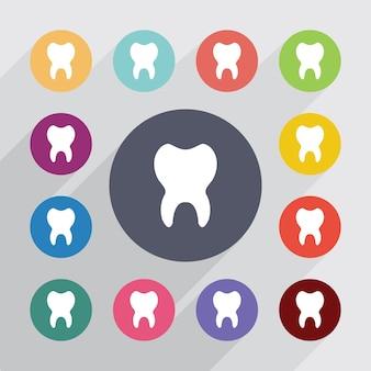 Zahn, flache symbole gesetzt. runde bunte knöpfe. vektor