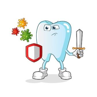 Zahn gegen virenkarikaturillustration