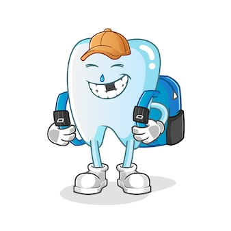 Zahn geht zur schulillustration