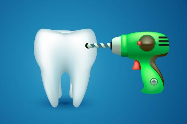 Zahn mit bohrer