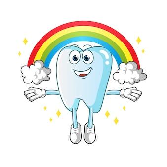Zahn mit einer regenbogenmaskottchenillustration