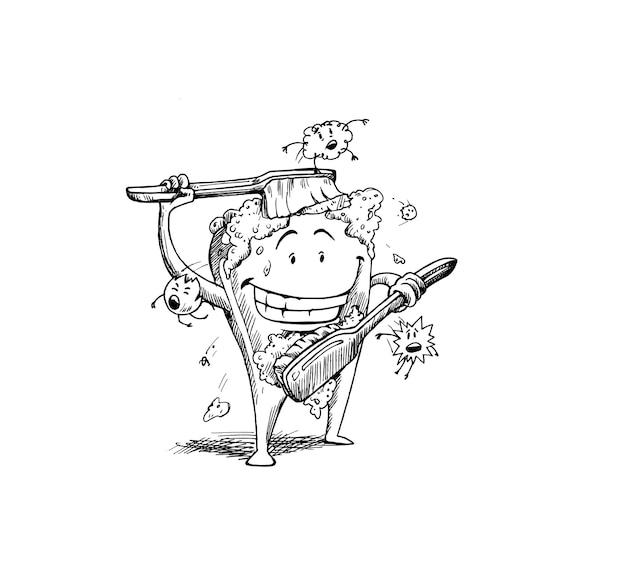 Zahn mit einer zahnbürste, zahnreinigung mit einer zahnbürste. zahnhygienekonzept. hand zeichnen skizze vektor-illustration.