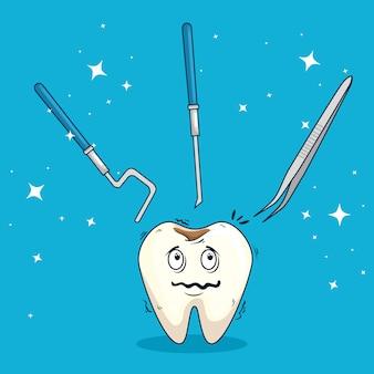 Zahn mit karies und bagger mit werkzeugen