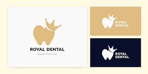 Zahn mit kronenillustrationslogoschablonendesign für zahn- oder zahnarzt.