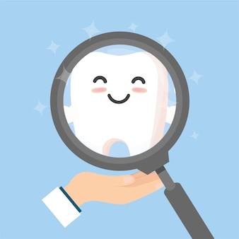 Zahn mit lupe. zahnmedizin reinigen weiße zähne und zahnärztliche instrumente. mundhygiene, zahnreinigung., abbildung